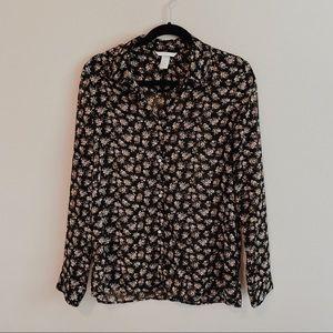 🆕 *NWOT* | H&M | Black Floral Sheer Button Up